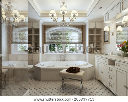 A large bathroom with large bath and window, brown and white tones. 3d render. - stock photo