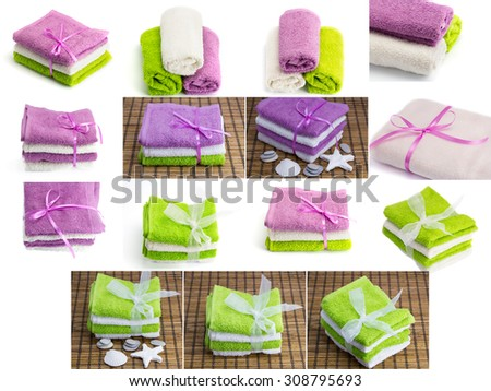 A large collection of towels on the theme of the spa treatments - stock photo