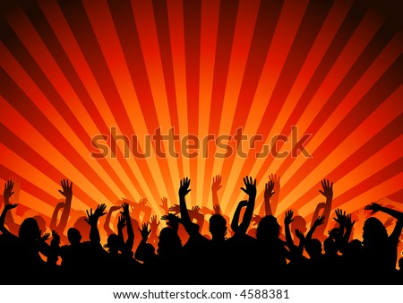 A large crowd of people cheering - stock photo