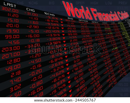 a large display of stock market price and quotation during the bear market period, shares down, economic downturn, in financial crisis - stock photo
