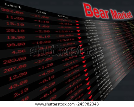 a large display panel of daily stock market price and quotation during economic downturn period, bear market - stock photo