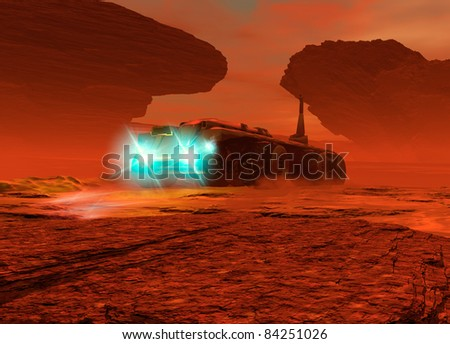 A large futuristic is seen from a low viewpoint driving over the surface of Mars. Its lighst are on as dust in kicked up on the surface. - stock photo