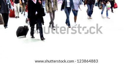 A large group of passengers. Panorama. Motion blur.  White background. - stock photo