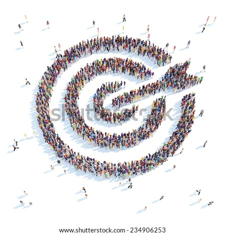 A large group of people in the form of a target. White background. - stock photo