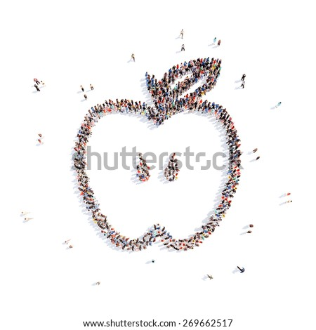A large group of people in the form of an apple. Isolated, white background. - stock photo