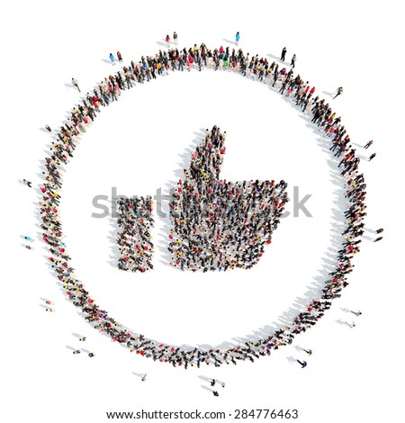 A large group of people in the shape Like. Isolated, white background. - stock photo