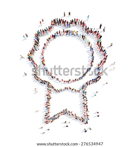 A large group of people in the shape of awards. Isolated, white backgroun - stock photo