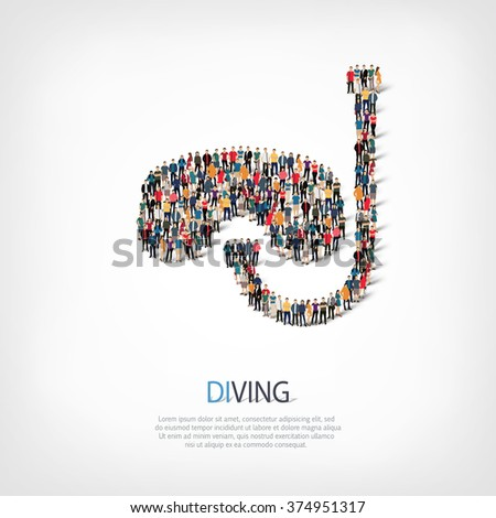 A large group of people in the shape of diving.  - stock photo