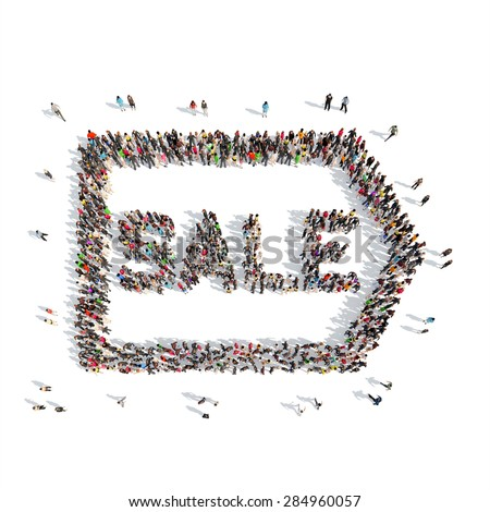 A large group of people in the shape of sale. Isolated, white background. - stock photo