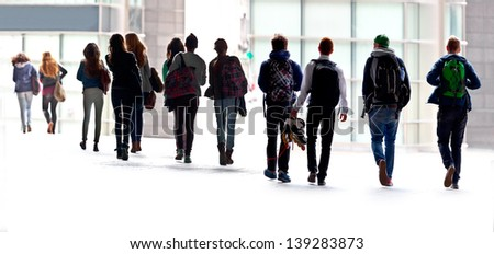 A large group of young people. Urban scene. - stock photo