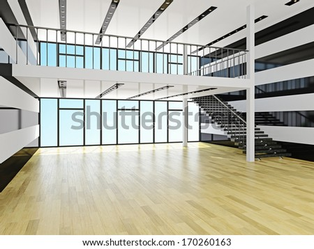 A large hall with staircase - stock photo