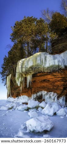 A large ice formation broke apart at the Wisconsin Ice Caves - stock photo
