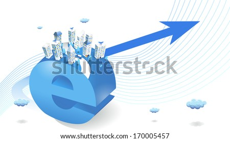 A large letter E with a city on top. - stock photo