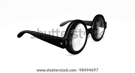 A large old style round glasses with very thick lenses - stock photo
