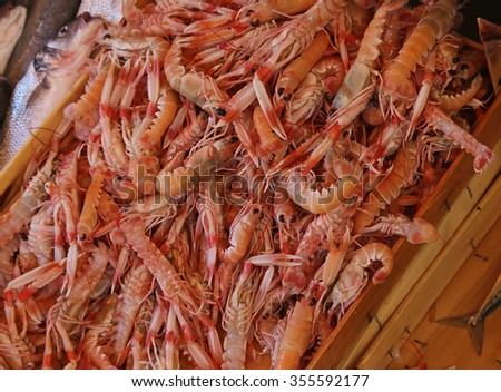 A large pile of fresh prawns at a fish market. - stock photo