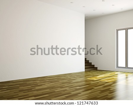 A large room with a ladder and the window - stock photo
