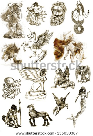 A large series of mystical creatures isolated on white - According to ancient Greek myths. /// Full sized hand drawings. - stock photo