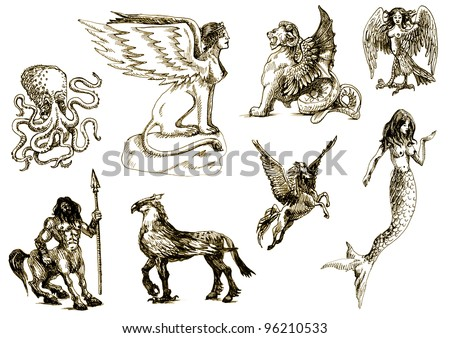 A large series of mystical creatures on an old sheet of paper - According to ancient Greek myths. - stock photo