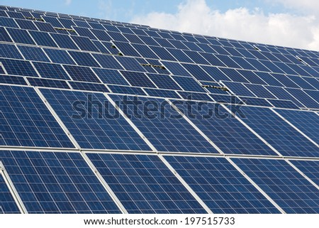 A large Solar energy array for clean electricity production - stock photo