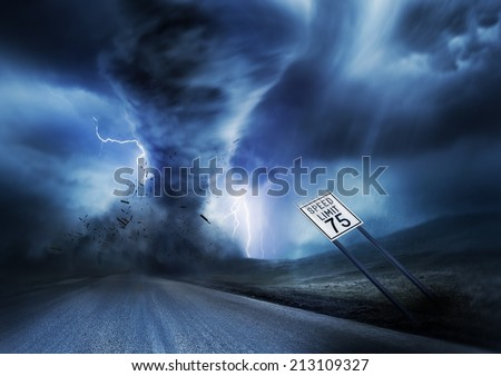 A large storm producing a Tornado, causing destruction. Illustration. - stock photo