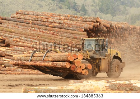 A large wheeled front end log loader working the log yard at a lumber processing mill that specializes in small logs - stock photo