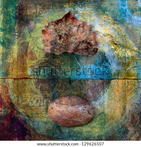 A leaf and stone with a circle painted around them. Photo based illustration, - stock photo