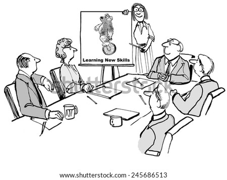 A 'learn new skills' seminar for the business team. - stock photo
