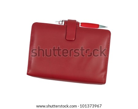A leather binder isolated against a white background - stock photo
