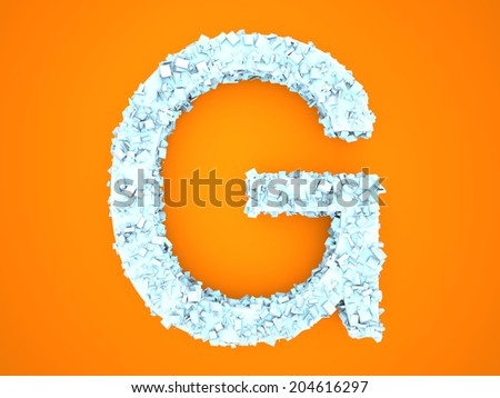 A letter formed out of ice Crystals. 3d illustration. - stock photo