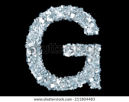 A letter G formed out of ice Crystals. - stock photo