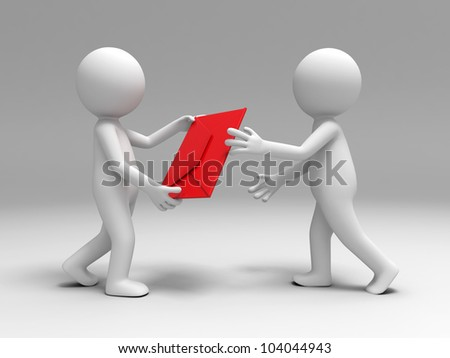 a letter  to the other/A 3d people brought a letter  to the other - stock photo