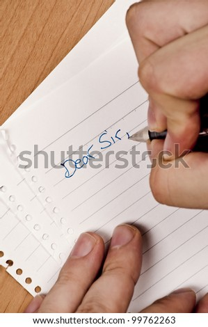 A letter writing to Friend on white lined paper - stock photo