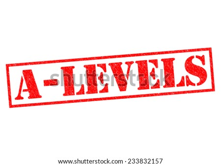 A-LEVELS red Rubber Stamp over a white background. - stock photo