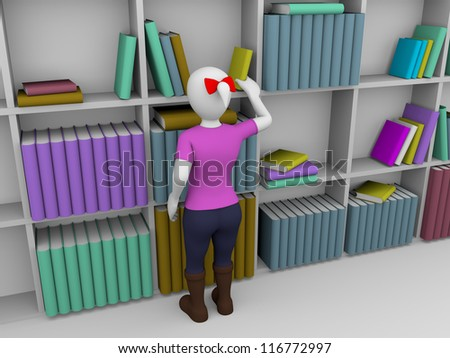 A librarian is choosing a book from the bookself - stock photo