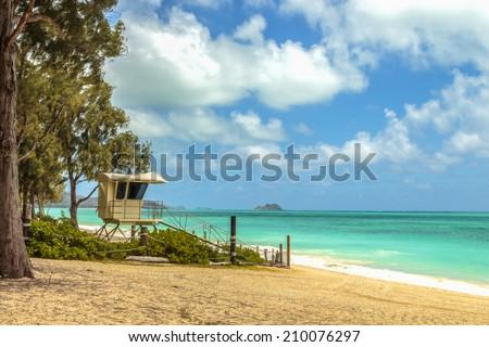 A lifeguard stand on Waimanalo Beach on Windward Oahu, Hawaii - stock photo