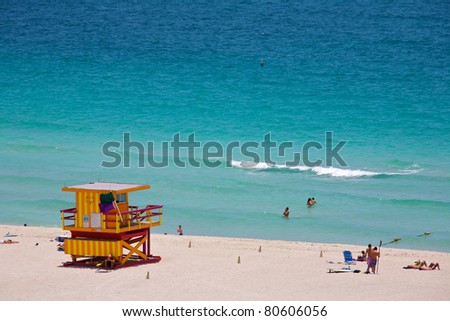 A lifeguard tower on South Beach in Miami Florida - stock photo