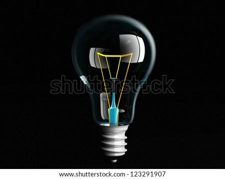 a light bulb on a black background - stock photo