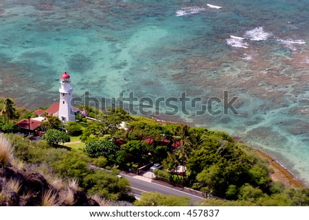 A lighthouse as seen from Diamond Head, Oahu - stock photo