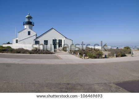 A lighthouse at Cabrillo National Monument in California. - stock photo