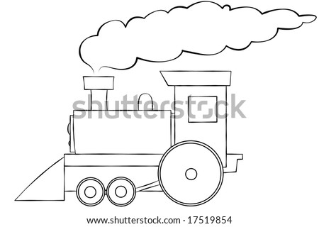 A line art illustration of a choo choo train. Room for text on the train or in the smoke. - stock photo