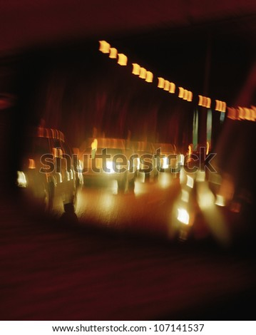 A line of cars in a tunnel. - stock photo