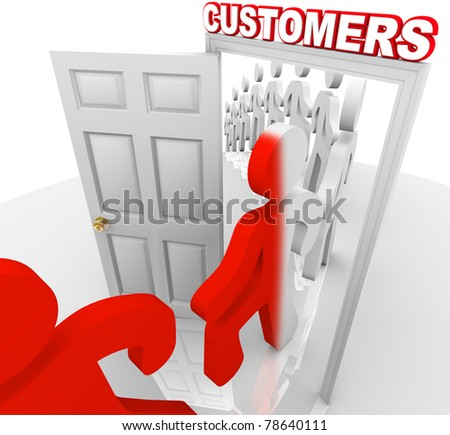 A line of people step through a doorway marked Customers and become transformed from prospects into new buyers, illustrating a successful marketing to selling process and campaign - stock photo
