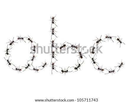 A line of worker ants marching to alphabet letters destination. - stock photo