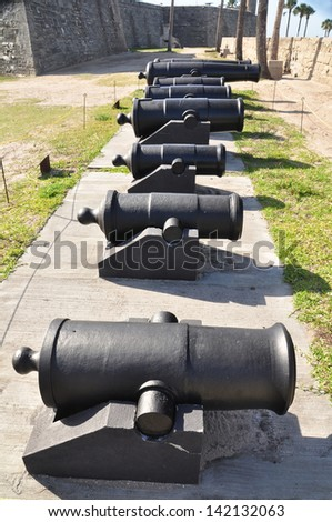 A lineup of canons providing defense for St Augustine and the fort - Castillo de San Marcos in Florida - stock photo