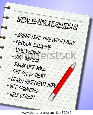 A list of New Year's resolutions written on a note pad / New Years resolutions list - stock photo