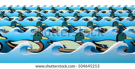 A literal depiction of carnival shooting alley wooden mallard ducks all in uniform rows in between blue wooden wave cutouts - stock photo