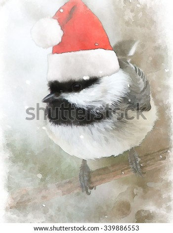 A little black capped chickadee wearing a Santa hat turned into a snowy Christmas illustration - stock photo