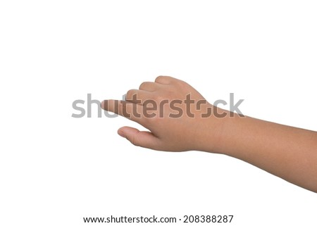 A little boy's hand touches the touch screen - stock photo