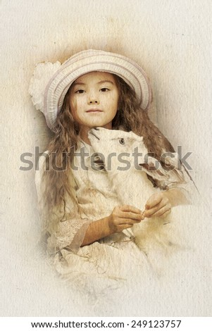 A little girl and pet goat. Intentional 1900's style post processing emulation. - stock photo