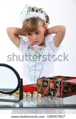 a little girl dressed in princess - stock photo
